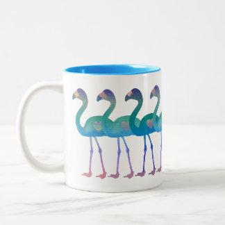 熱帯ハートの虹のフラミンゴのレトロのコーヒー・マグ ツートーンマグカップ