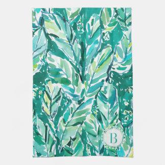 熱帯バナナの葉のジャングルの緑 キッチンタオル