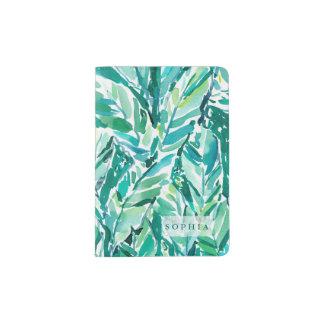 熱帯バナナの葉のジャングルの緑 パスポートカバー