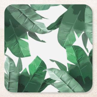 熱帯バナナの葉のプリントの正方形のコースター スクエアペーパーコースター