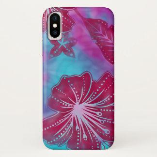 熱帯バリ島の花のろうけつ染め iPhone X ケース