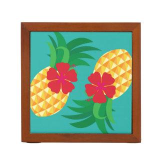 熱帯パイナップルおよびハイビスカスの夏 ペンスタンド