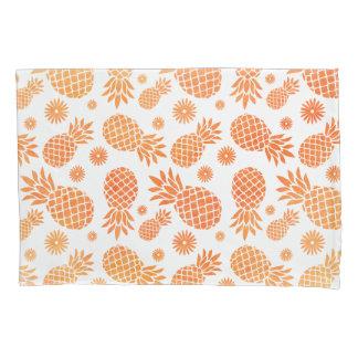 熱帯パイナップルおよび花のオレンジ白い芸術 枕カバー