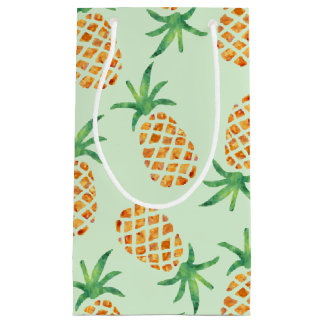 熱帯パイナップルパターン緑 スモールペーパーバッグ