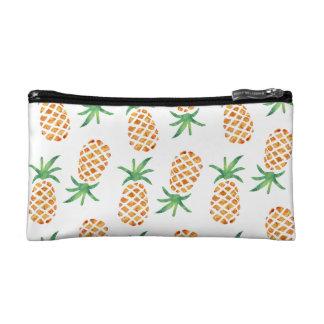 熱帯パイナップルパターン|白 コスメティックバッグ