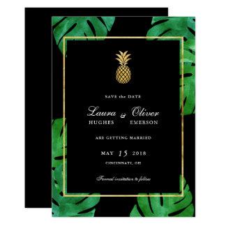 熱帯パイナップル保存日付、黒および金ゴールド 12.7 X 17.8 インビテーションカード