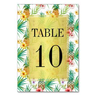 熱帯パイナップル及びハイビスカスの結婚式のテーブル数 カード