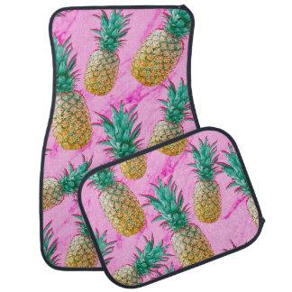 熱帯パイナップル及びピンクの大理石のモダンなカラフル カーマット