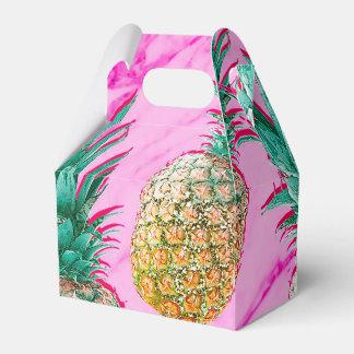 熱帯パイナップル及びピンクの大理石のモダンなカラフル フェイバーボックス
