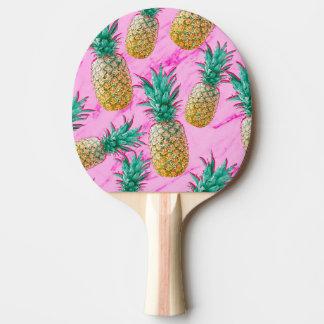 熱帯パイナップル及びピンクの大理石のモダンなカラフル 卓球ラケット