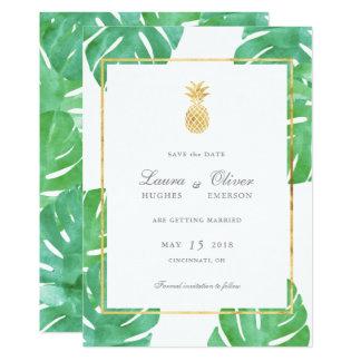 熱帯パイナップル金ゴールドの保存日付カード カード