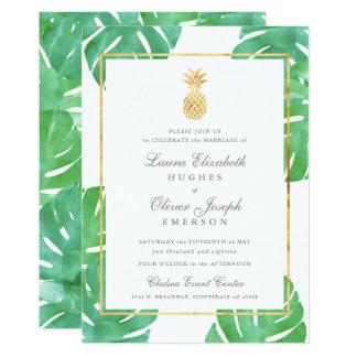 熱帯パイナップル金ゴールドの結婚式招待状 12.7 X 17.8 インビテーションカード