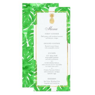熱帯パイナップル金ゴールド及び緑の結婚式メニュー カード