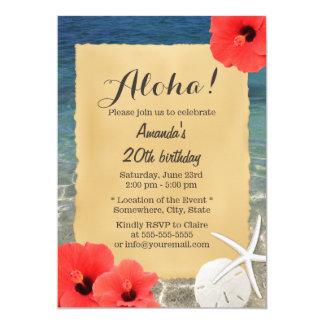 熱帯ヒトデのビーチの花の誕生会 12.7 X 17.8 インビテーションカード