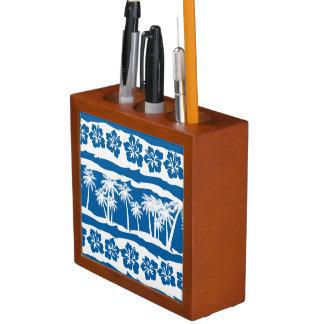 熱帯ビーチのやしは縞で飾ります ペンスタンド
