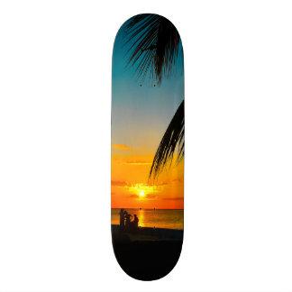 熱帯ビーチのやしカラフルな日没のスケートボード 18.4CM ミニスケートボードデッキ