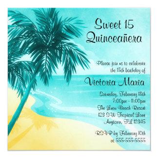 熱帯ビーチのキンセアニェラの誕生日の招待状 カード