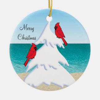 熱帯ビーチのクリスマスツリーの赤の(鳥)ショウジョウコウカンチョウ セラミックオーナメント