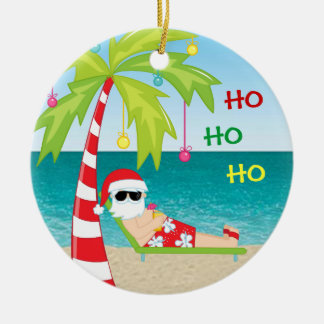 熱帯ビーチのサンタのヤシの木のクリスマスのオーナメント セラミックオーナメント