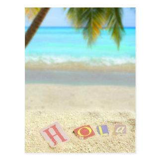 熱帯ビーチのスペイン語のHola、こんにちは ポストカード
