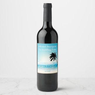 熱帯ビーチのティール(緑がかった色)の結婚式のワインのラベル ワインラベル