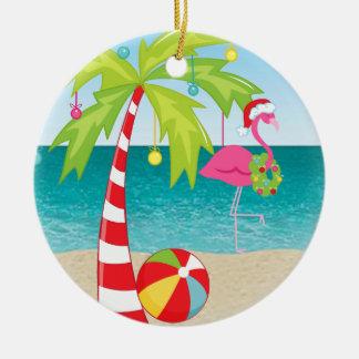 熱帯ビーチのフラミンゴのやしクリスマスのオーナメント セラミックオーナメント