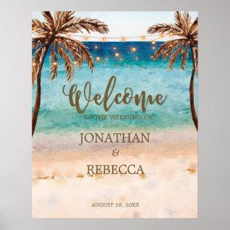 熱帯ビーチのモダンな結婚式の喜ばしい徴候ポスター ポスター