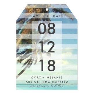 熱帯ビーチのヤシの木の写真の保存日付のラベル カード