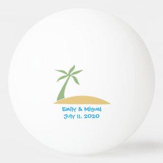 熱帯ビーチのヤシの木の結婚式の引き出物の卓球 ピンポン球