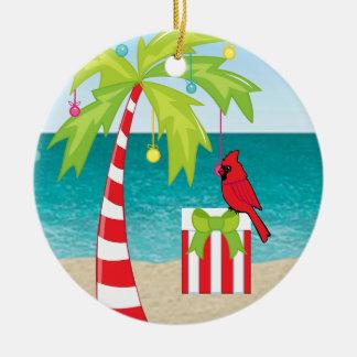 熱帯ビーチのヤシの木の赤く基本的なクリスマス セラミックオーナメント