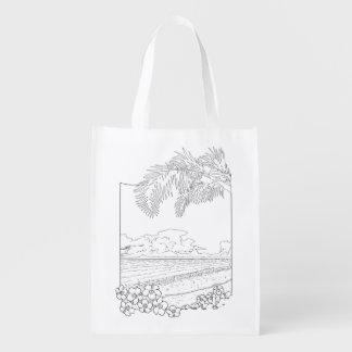 熱帯ビーチの大人の着色のバッグ エコバッグ