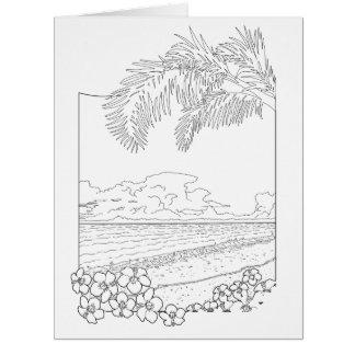 熱帯ビーチの大人の着色の大きいカード カード