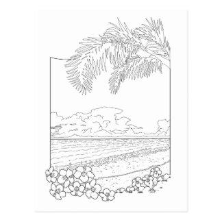 熱帯ビーチの大人の着色の郵便はがき ポストカード