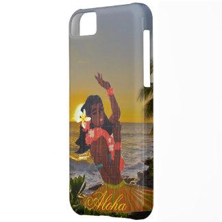 熱帯ビーチの日没のフラのダンサー iPhone5Cケース