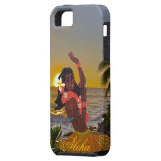 熱帯ビーチの日没のフラのダンサー iPhone SE/5/5s ケース