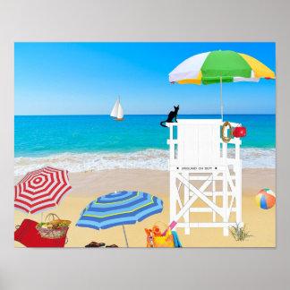 熱帯ビーチの砂のライフガードタワー ポスター