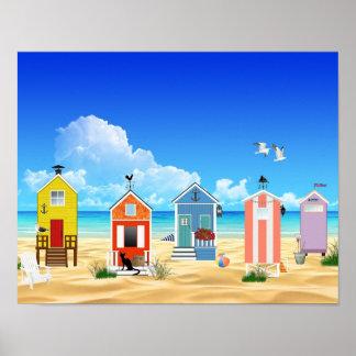 熱帯ビーチの砂小屋 ポスター