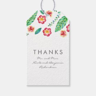 熱帯ビーチの花およびシュロの葉の結婚 ギフトタグ