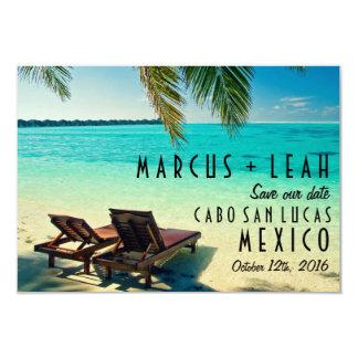 熱帯ビーチの行先の結婚式の保存日付 カード