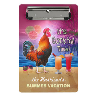 熱帯ビーチまたは巡航の休暇|のおもしろいなオンドリ ミニクリップボード