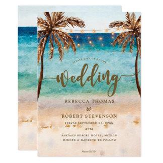 熱帯ビーチ場面モダンの結婚式招待状 カード