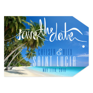 熱帯ビーチ結婚式の保存日付のラベル 12.7 X 17.8 インビテーションカード