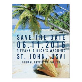 熱帯ビーチ聖ヨハネ、USVIは日付を救います 10.8 X 14 インビテーションカード