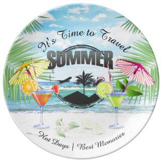 熱帯ビーチ、名前入りな夏期休暇  磁器プレート