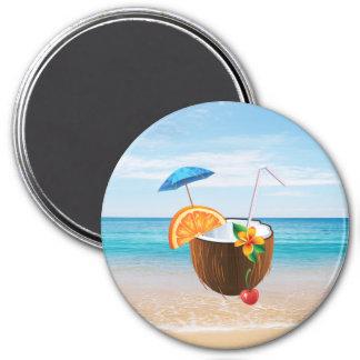 熱帯ビーチ、青空、海の砂、ココナッツCoctail マグネット