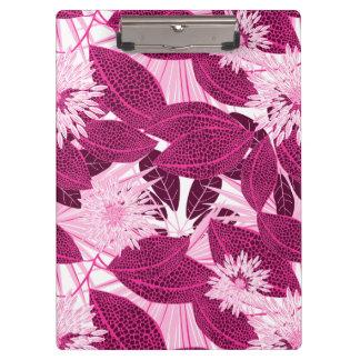 熱帯ピンクによって斑点を付けられる花柄 クリップボード
