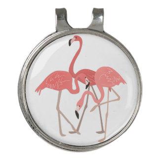 熱帯ピンクのフラミンゴのトリオ ゴルフハットクリップ