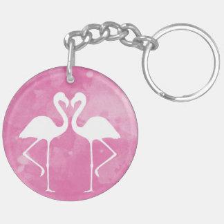 熱帯ピンクのフラミンゴの水彩画のシルエット キーホルダー