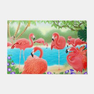 熱帯ピンクのフラミンゴの鳥の玄関マット ドアマット