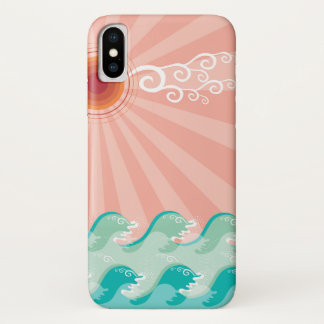 熱帯ピンクの日曜日の水の波の夏のビーチの海 iPhone X ケース